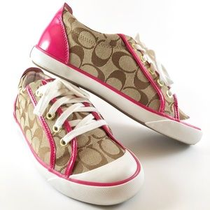 "COACH ""Barrett"" Tan Canvas & Pink Leather Sneakers"